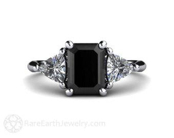 black diamond engagement ring vintage black diamond ring 3 stone with  trillion diamonds in RASFWHC