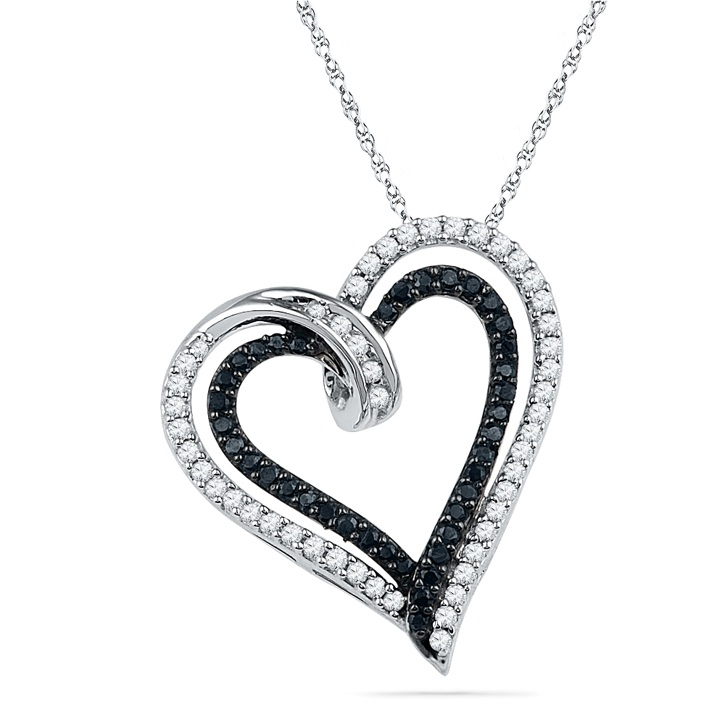 black diamond heart necklace fkkckcq