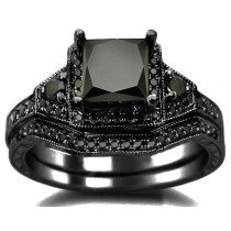 black diamond ring 2.01ct black princess cut diamond engagement ring bridal set 14k black gold PEEPVVU