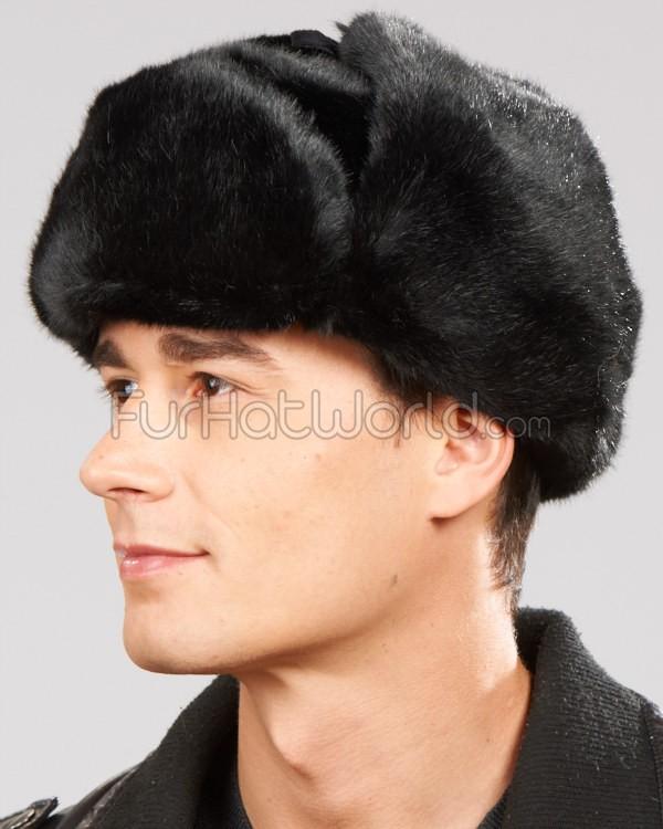 black faux fur russian ushanka hat qaatkqa