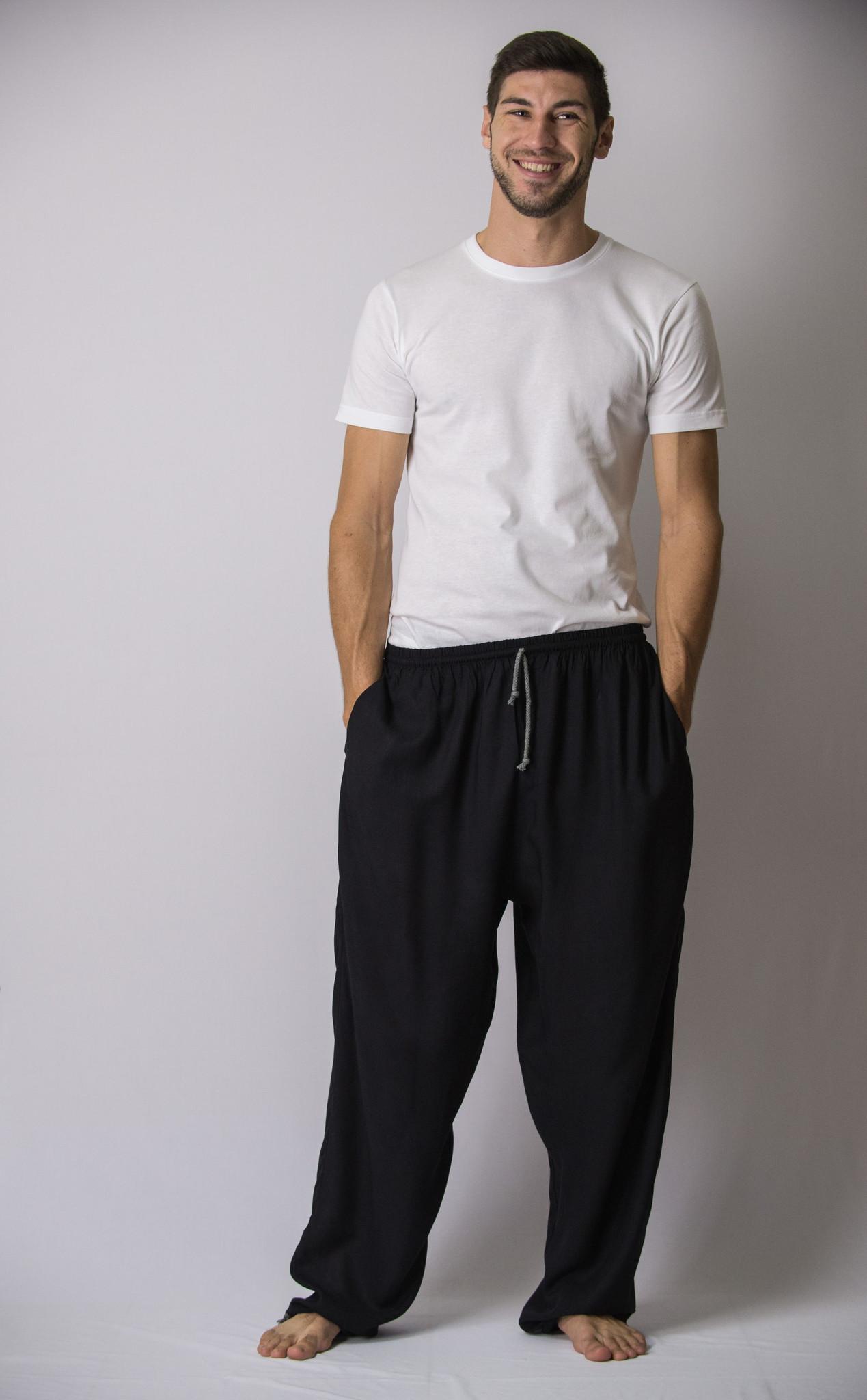 black harem pants solid color drawstring menu0027s yoga massage pants in black favdrgl