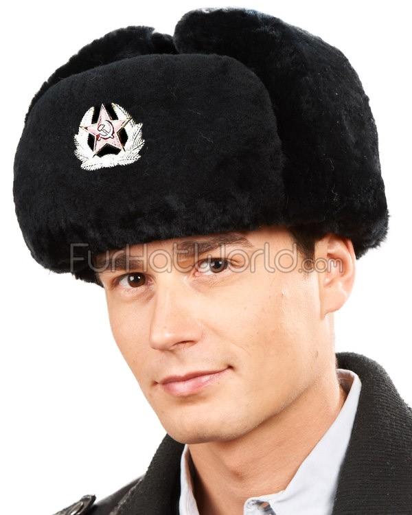 black mouton sheepskin russian ushanka hat with badge kwxzprl