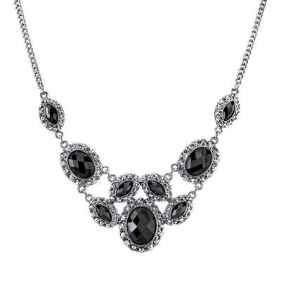 black necklace 1928 faceted stone bib necklace. black blue ZNFXHDV