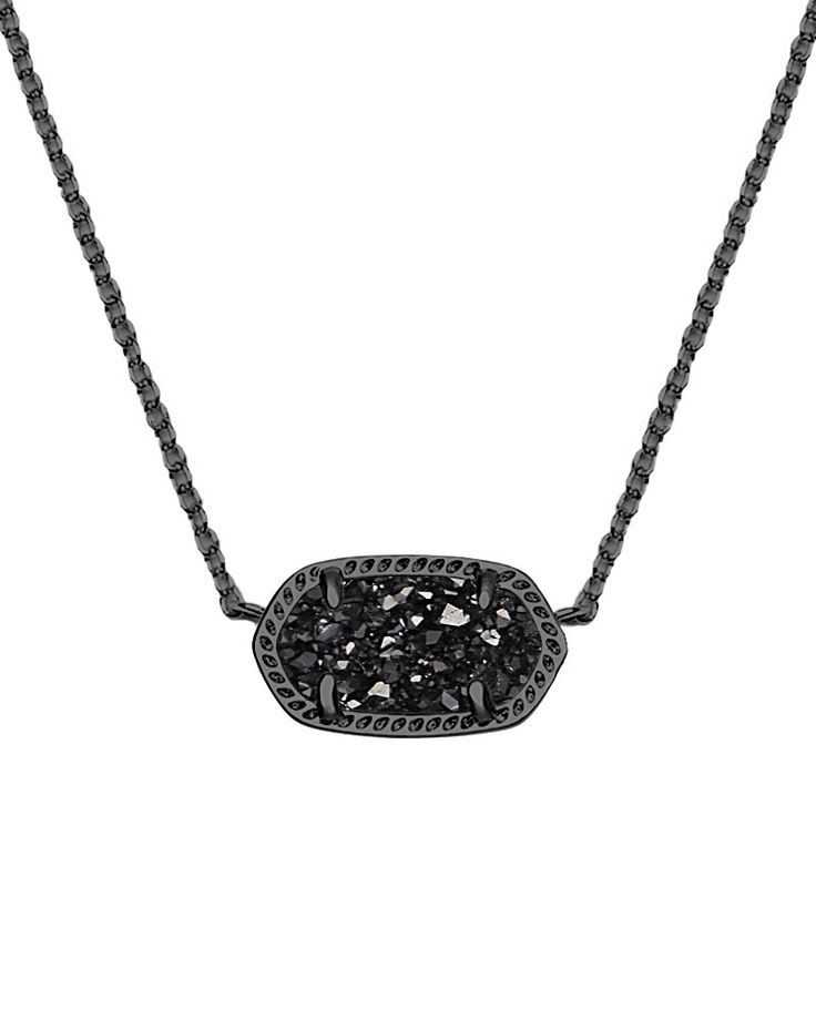 black necklace kendra scott jewelry - elisa pendant necklace in black drusy @kendra_scott WCRJIFA
