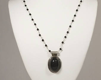 black onyx necklace, onyx pendant, sterling silver, boho necklace, witch  necklace, gkaebtt
