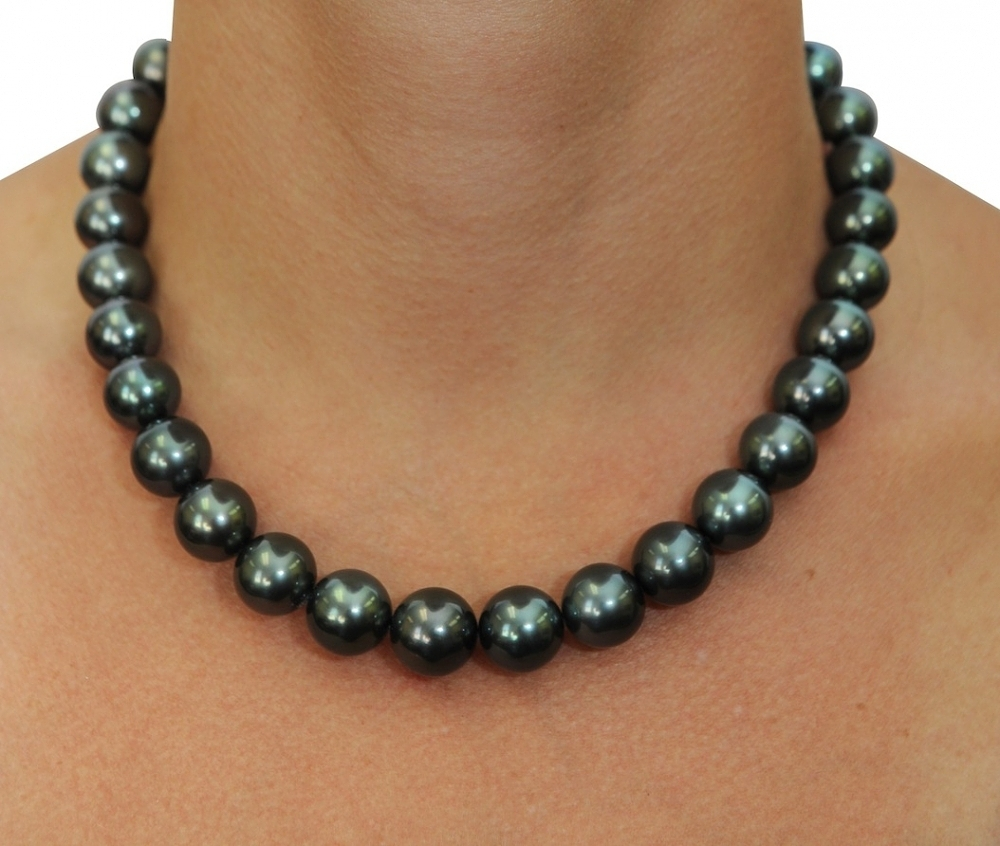 black pearl necklace certified 11-14mm tahitian south sea pearl necklace - aaaa quality AFPREYN