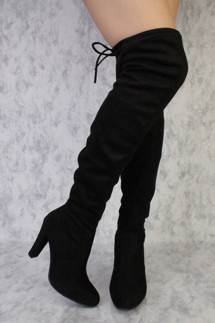black thigh high boots black round pointy toe single sole high heel thigh high boots faux suede axscrbu