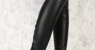 black thigh high boots black round toe chunky ami clubwear thigh high boots faux leather zvjrckt