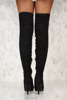 black thigh high boots sexy black thigh high pointy close boots faux suede. sexy ... ixxtytt
