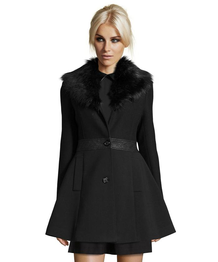black wool coat with faux fur trim mlqqsiy