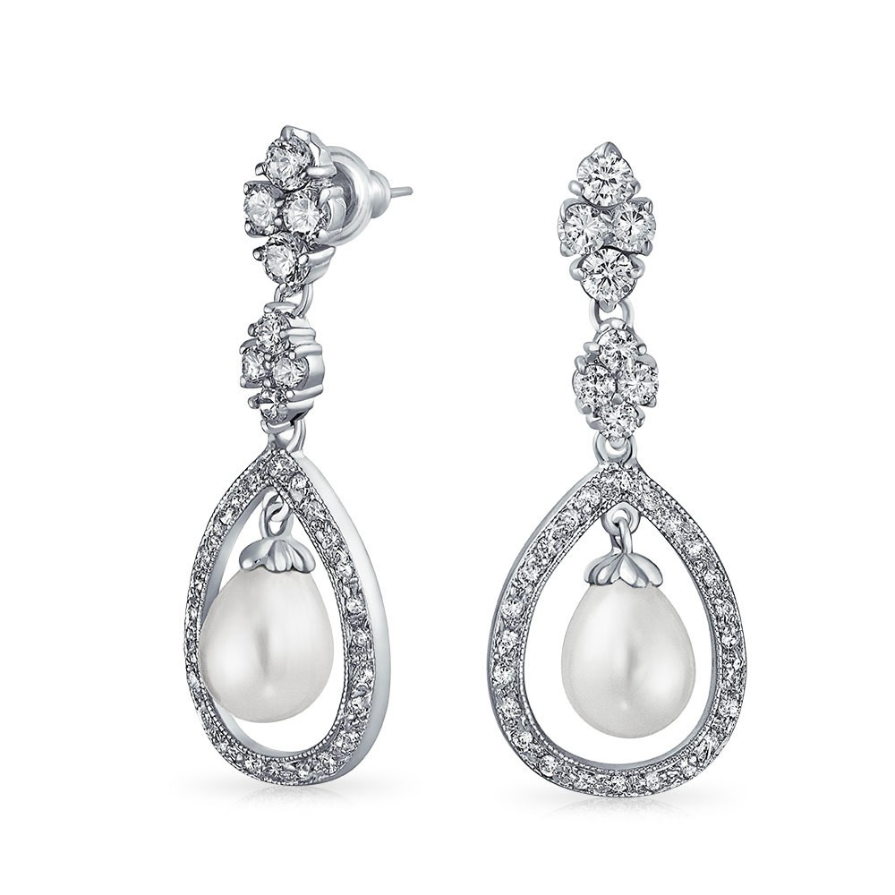 bling jewelry bridal pearl pave cz silver teardrop chandelier earrings nmhvnkq
