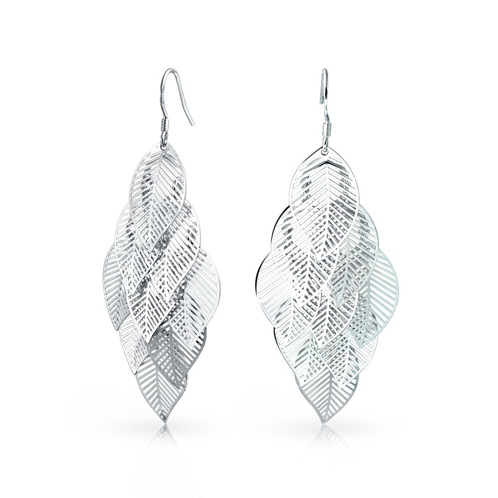 bling jewelry silver plated nature leaf chandelier drop dangle earrings tpxhrfe