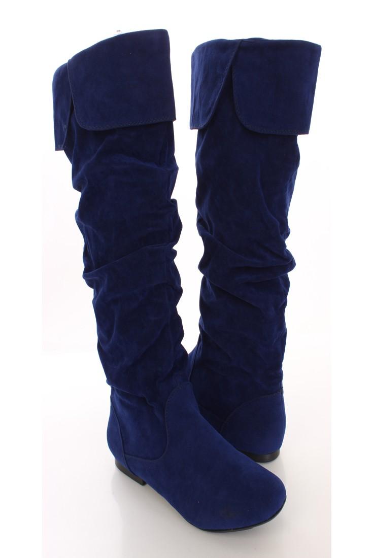 blue boots cobalt blue faux suede cuff closed toe flat boots hkseneh