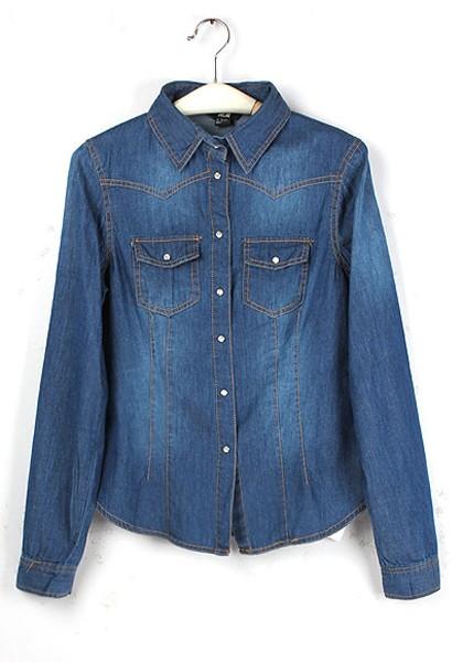 blue buttons lapel long sleeve wrap denim blouse geabyuq
