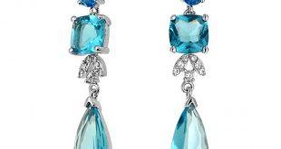 blue earrings bling jewelry blue topaz color cz square teardrop cz bridal chandelier  earrings GCNZXDT