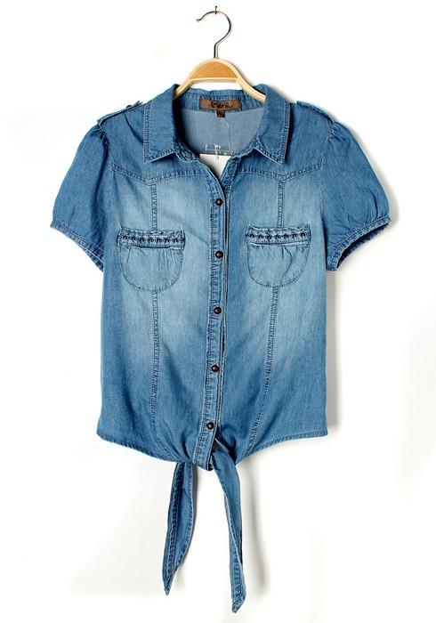 blue embroidery lapel short sleeve pockets denim blouse kctbihr