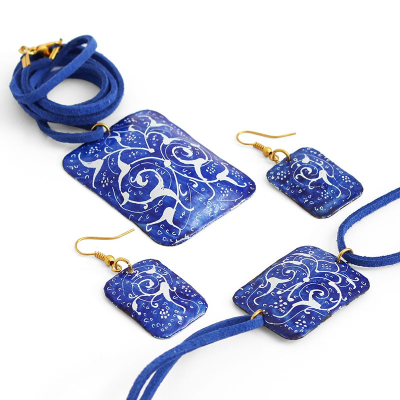 blue enamel jewelry set with necklace, bracelet and earrings (minakari) ... dltadnz