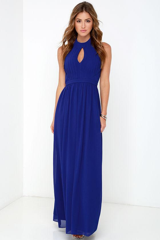 blue maxi dress beautiful royal blue dress - maxi dress - halter dress - $86.00 odkkbel