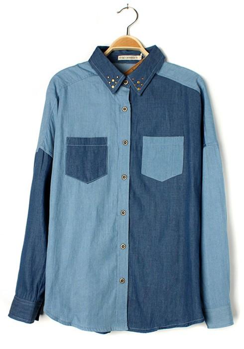 blue patchwork rivet bat sleeve pockets denim blouse vicjnez