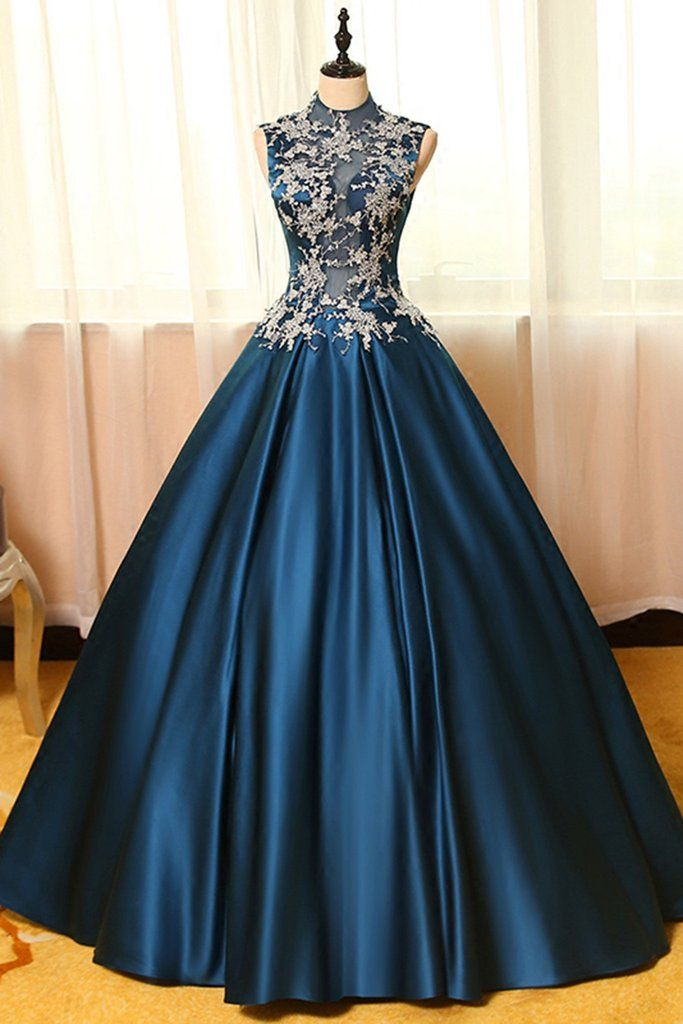 blue satins lace applique round neck see-through a-line long prom dresses,ball  gown dresses nngbcbz