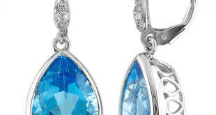 blue topaz earrings 10k white gold - magic promise jewelry bzblqzb