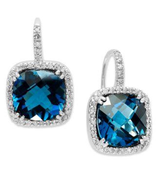 blue topaz earrings 14k white gold earrings, london blue topaz (10 ct. t.w.) and diamond SVZPOIR