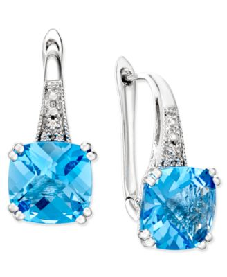 blue topaz earrings blue topaz (5-1/3 ct. t.w.) and diamond accent drop DNYVOOW