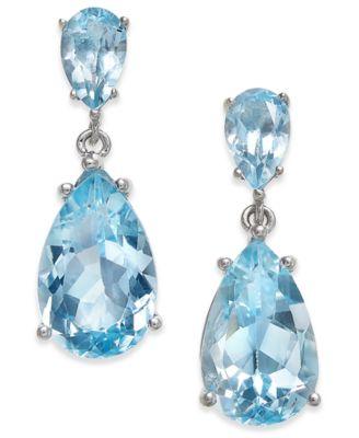 blue topaz earrings semi precious gemstone teardrop drop earrings (7 ct. t.w.) in sterling  silver ( WKTECOU