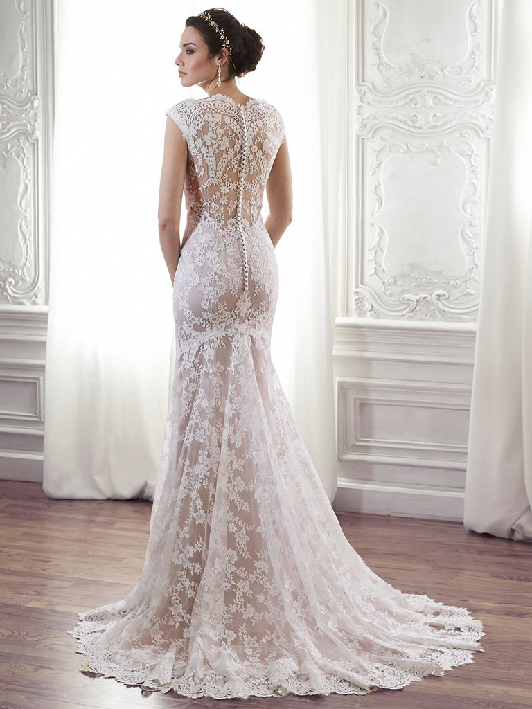 blush wedding dress maggie sottero - londyn, made from exquisite floral lace, this sheath gown  is the fhrbdss