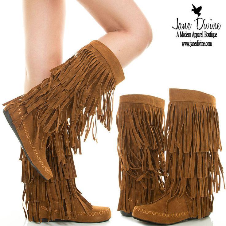 boho fringe boots brown 3-layer faux suede moc foot back zip slippers nib 7 sijoqif