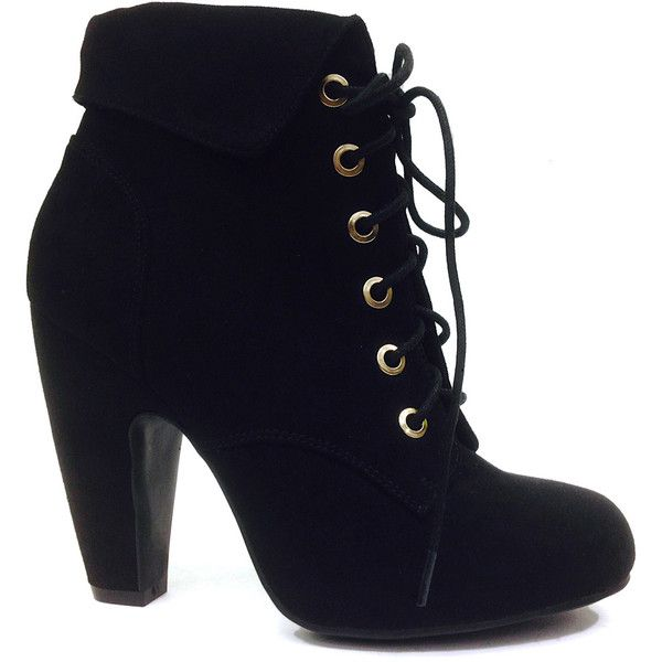 boots with heels bamboo black mozza lace-up bootie ($22) ❤ liked on polyvore featuring shoes snpqfgb