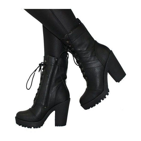 boots with heels high heeled combat boots via polyvore featuring shoes, boots, ankle  booties, military boots nfuaqjo
