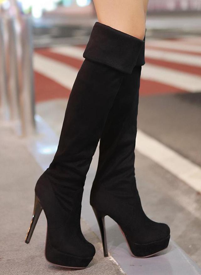 boots with heels sexy black platform knee high heels boots cvvcwae