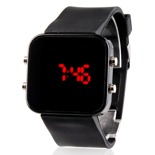boys watches free shipping mirror face black jelly sports silicone watches children  watches for girls square ITNLUDJ