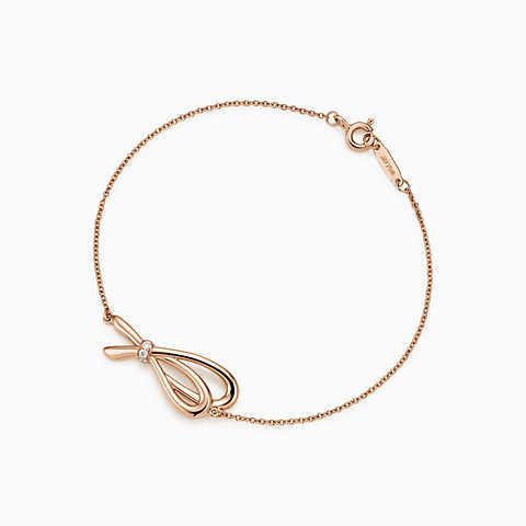 bracelets for women new tiffany bow bracelet in 18k rose gold with diamonds, medium. yyvzgwz