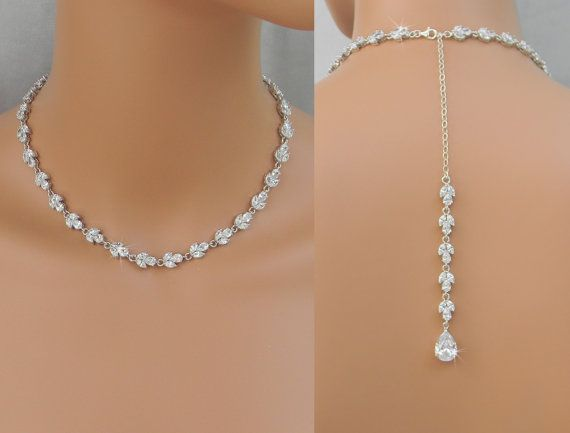 bridal necklaces back drop bridal necklace, crystal backdrop necklace, wedding necklace, bridal  jewelry, melonie zprlunu