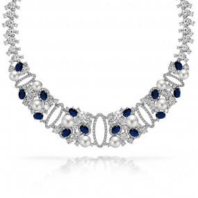 bridal necklaces bling jewelry sapphire color cz pearl bridal collar necklace gatsby inspired tybieda