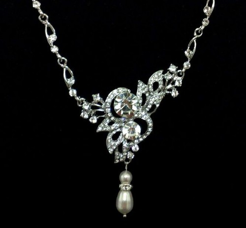 bridal necklaces butterfly bridal necklace, swarovski pearl crystal jewelry - ulysses ecqaact