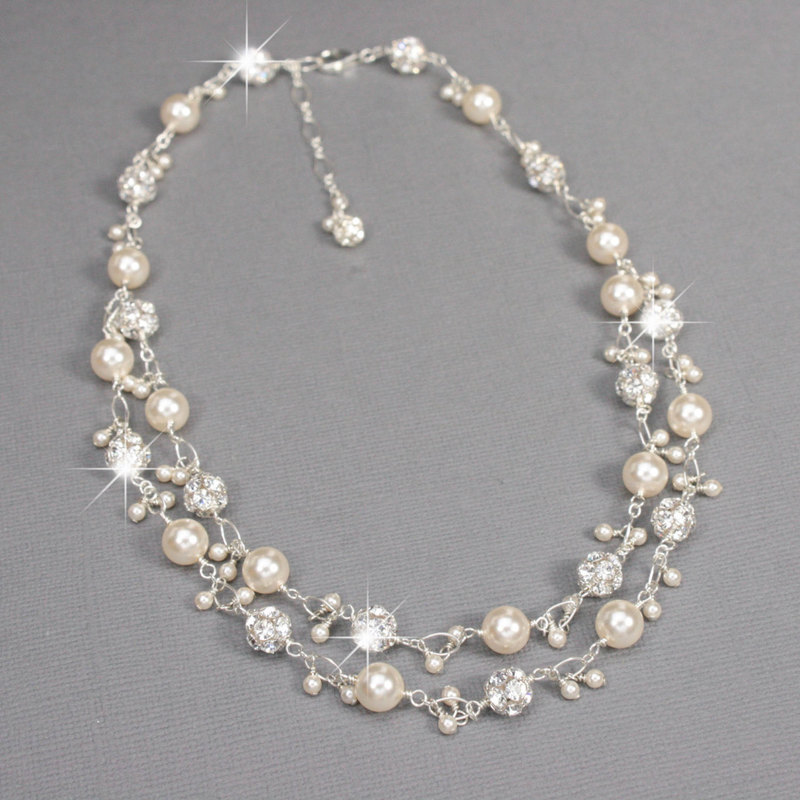 bridal necklaces sterling silver double strand pearl u0026 rhinestone charm necklace wfoszre