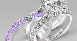 bridal rings brilliant cut lilac amethyst two-in-one rhodium plating sterling silver engagement  ring / uqsxeop