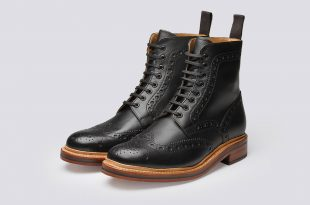 brogue boots grenson shoes u0026 accessories | fred mens brogue boot in black calf leather - jwqivkm