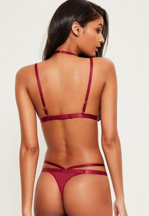 burgundy lace halter neck bra. previous next duqfmnk
