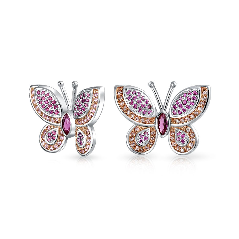 butterfly jewelry bling jewelry cz pave butterfly stud earrings rhodium plated bczyocq