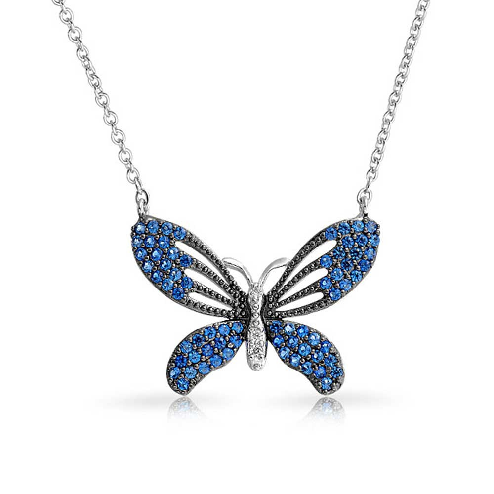butterfly jewelry bling jewelry sapphire colored blue cubic zirconia 3 tone butterfly necklace gnmtxuq