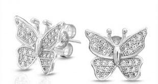 butterfly jewelry bling jewelry sterling silver micropave clear cz butterfly stud earrings yahflce