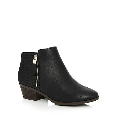 call it spring - black u0027gunsonu0027 mid block heel ankle boots zztdsjd