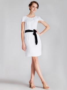 cap sleeve pleated little white dress oihldhk