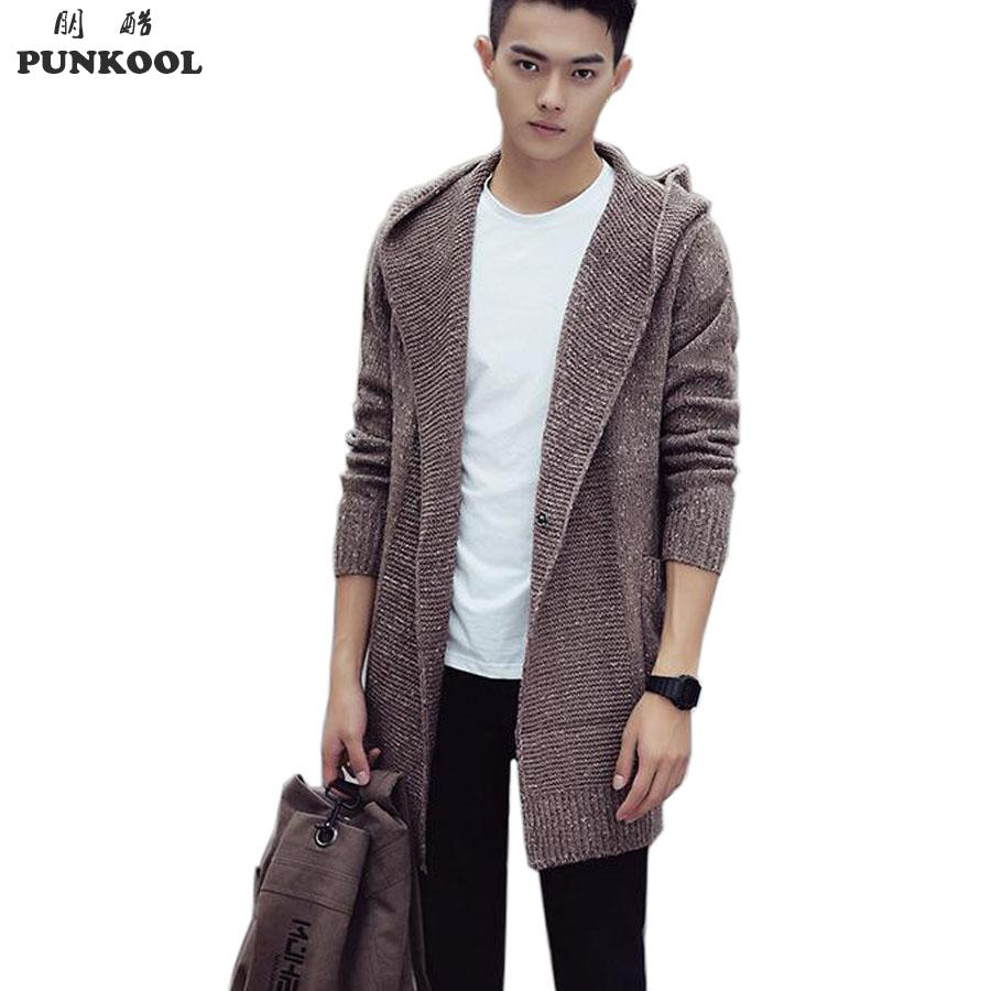 cardigans for men punkool sweater men 2016 long hooded cardigan men sweater jacket coats  winter warm knitted hlblqri