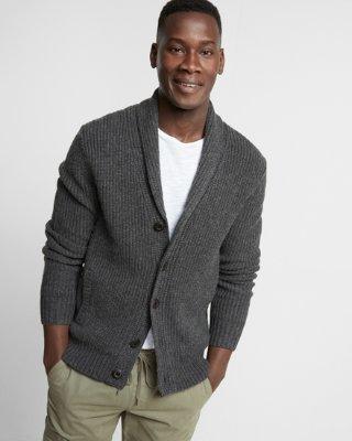 cardigans for men ... shaker knit button front shawl collar cardigan wuxcvfl