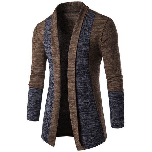 cardigans for men space dye contrast panel open front cardigan - coffee l lacxrep
